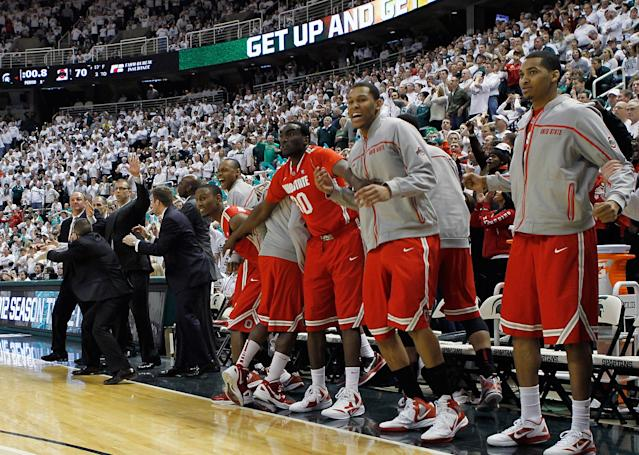 EAST LANSING, MI - MARCH 04: The Ohio State Buckeyes bench celebrates a win over the Michigan State Spartans 72-70 for a share of the Big Ten Title at Breslin Center on March 4, 2012 in East Lansing, Michigan. (Photo by Leon Halip/Getty Images)