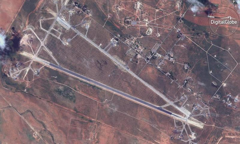 A satellite image provided by DigitalGlobe shows the Shayrat air base in Syria, following US missile strikes.