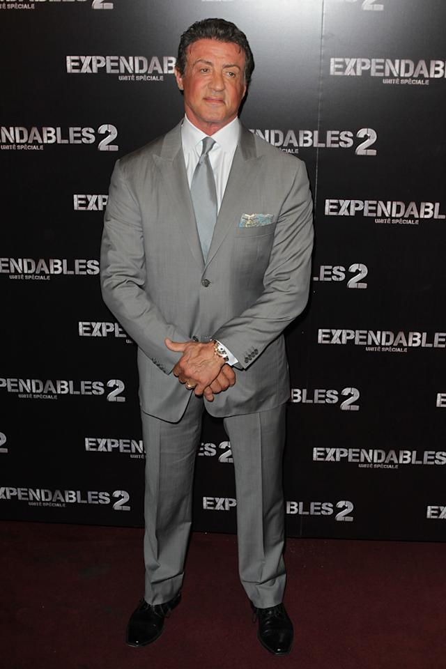 """Sylvester Stallone at the Paris premiere of """"The Expendables 2"""" on August 9, 2012."""
