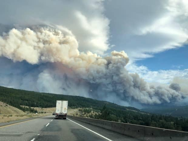 A plume of wildfire smoke as seen from the Coquihalla Highway on Sunday. (David P. Ball/CBC - image credit)
