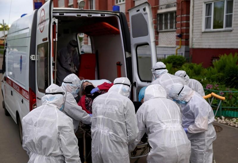 FILE PHOTO: Paramedics carry out their duties amid the coronavirus disease outbreak in Tver