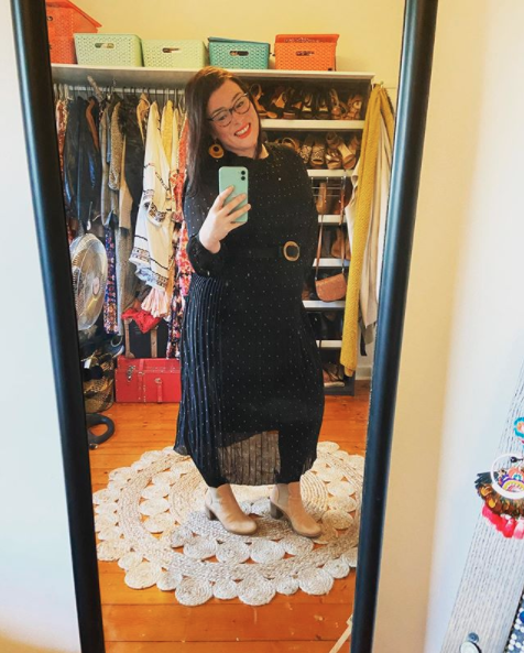 Kmart winter long-sleeved dress on a woman