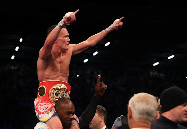 Boxing - Lee Selby vs Josh Warrington - IBF World Featherweight Title - Elland Road, Leeds, Britain - May 19, 2018 Josh Warrington celebrates winning the fight Action Images via Reuters/Peter Cziborra