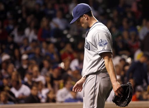 San Diego Padres starting pitcher Clayton Richard leaves the field with two outs in the bottom of the sixth inning of a baseball game against the Chicago Cubs, Monday, April 29, 2013, in Chicago. (AP Photo/Charles Rex Arbogast)