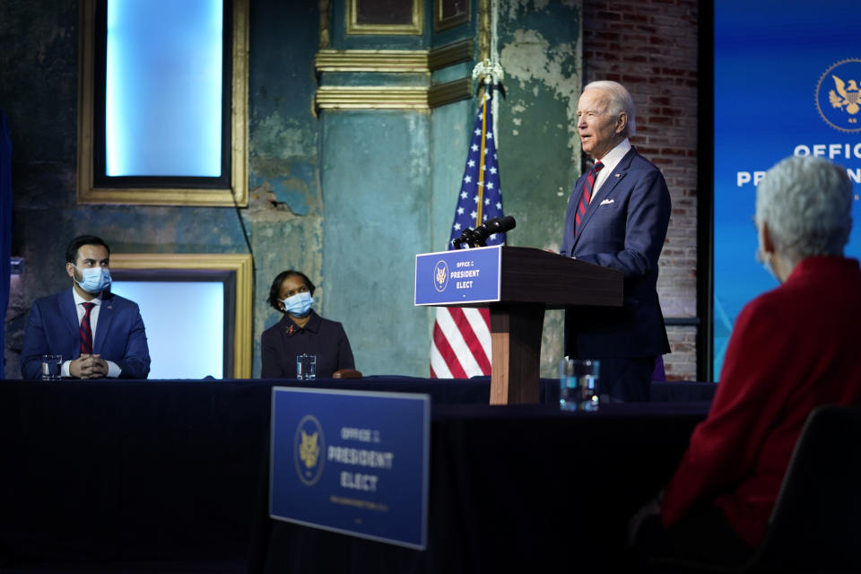 FILE - In this Dec. 20, 2020, file photo President-elect Joe Biden announces his climate and energy team nominees and appointees at The Queen Theater in Wilmington Del. (AP Photo/Carolyn Kaster, File)