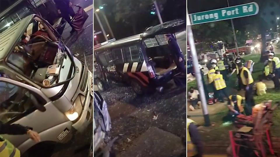 Screengrabs taken from a video of the accident scene that was circulated over social media.