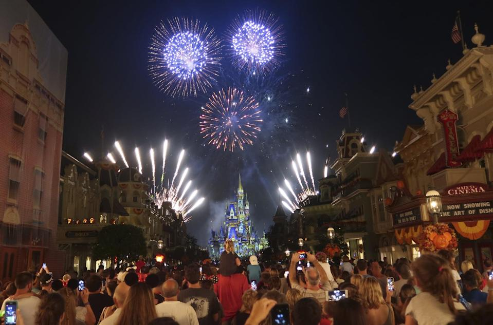 LAKE BUENA VISTA, FL - OCTOBER 10: Fireworks explode over Cinderella Castle during the Happily Ever After fireworks show at the Walt Disney World, Magic Kingdom entertainment park on October 10, 2018 in Lake Buena Vista, Florida. (Photo by Gary Hershorn/Getty Images)