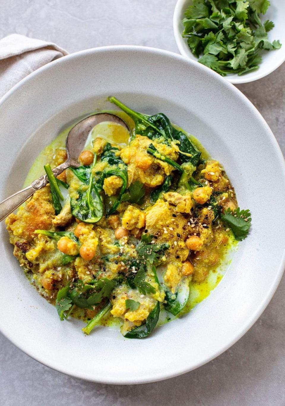 """<p>Get the <a href=""""https://familystylefood.com/spiced-coconut-chicken-with-chickpeas-and-cauliflower-slow-cooker-or-instant-pot/"""" rel=""""nofollow noopener"""" target=""""_blank"""" data-ylk=""""slk:Curry Coconut Chicken with Cauliflower"""" class=""""link rapid-noclick-resp"""">Curry Coconut Chicken with Cauliflower</a> recipe.</p><p>Recipe from <a href=""""https://familystylefood.com/"""" rel=""""nofollow noopener"""" target=""""_blank"""" data-ylk=""""slk:Family Style Food"""" class=""""link rapid-noclick-resp"""">Family Style Food</a>. </p>"""