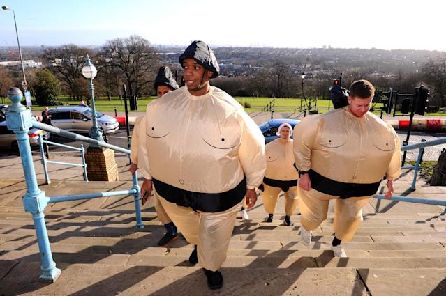 As were these sumo wrestlers. (Photo by Alex Burstow/Getty Images)