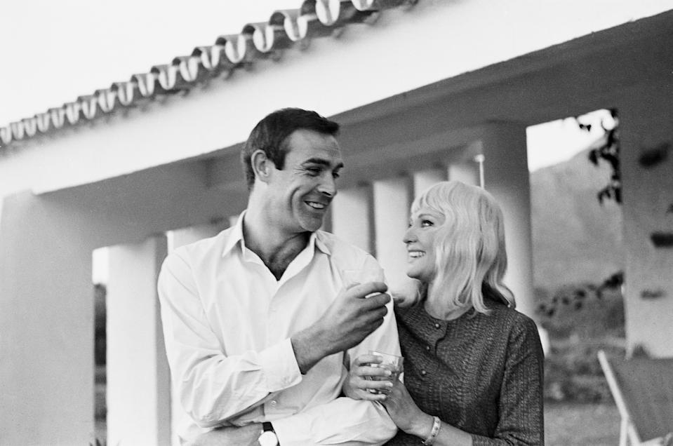 Actor Sean Connery who plays James Bond, pictured with his new bride, actress Diane Cilento on their honeymoon near Marbella in Southern Spain, shortly after their secret wedding in Gibraltar. 2nd December 1962. (Photo by Daily Mirror/Mirrorpix/Mirrorpix via Getty Images)