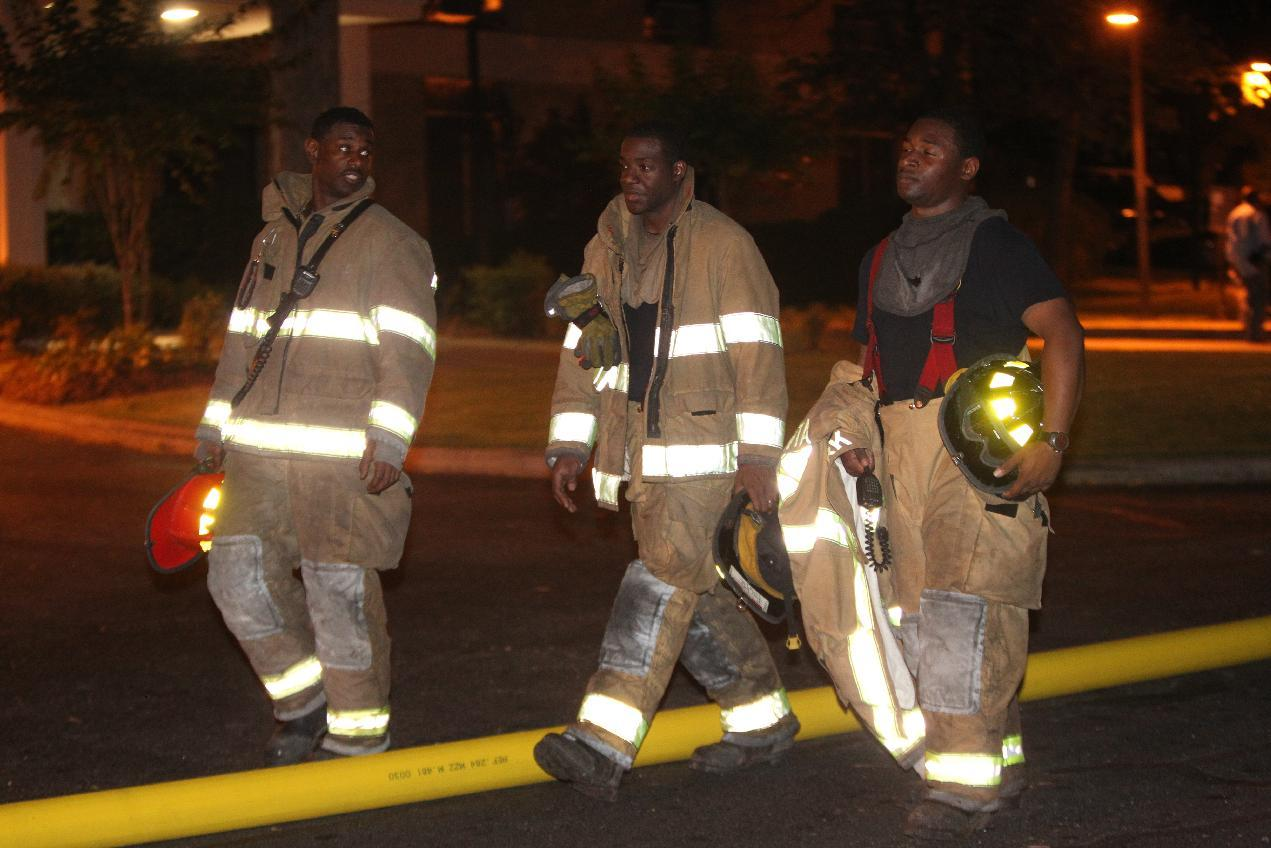 Firefighters respond to a blaze at Tyler Perry Studios in southwest Atlanta, Tuesday night, May 1, 2012. Atlanta fire officials say they have put out the 4-alarm blaze at the studio that damaged a building at the complex. Atlanta Fire Department spokesman Capt. Jolyon Bundrige says the fire happened before 9 p.m. Tuesday and there were no reports of injuries. (AP Photo/Atlanta Journal-Constitution, Curtis Compton)
