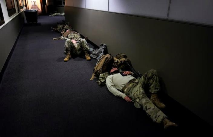 National Guard members sleep in the Dirksen Senate Office Building in Washington