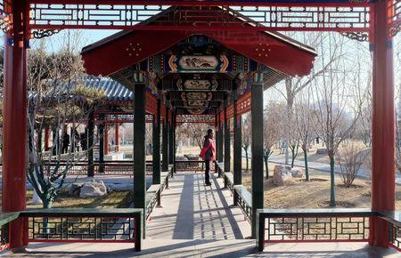 A resident stands in a traditional Chinese gallery in central Beijing