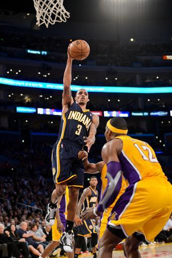 LOS ANGELES, CA - NOVEMBER 27: George Hill #3 of the Indiana Pacers drives to the basket against the Los Angeles Lakers at Staples Center on November 27, 2012 in Los Angeles, California. (Photo by Noah Graham/NBAE via Getty Images)