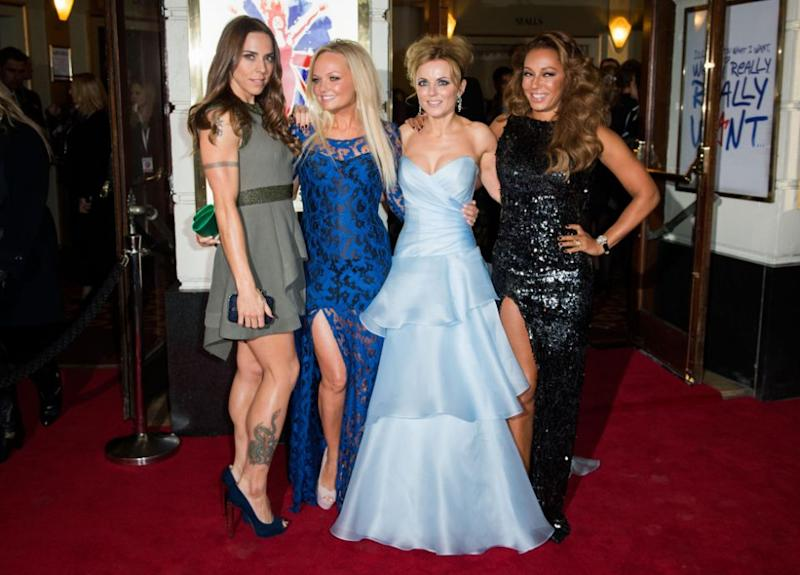 (L-R) Melanie Chisholm, Emma Bunton, Geri Halliwell and Melanie Brown attend the press night of 'Viva Forever', a musical based on the music of The Spice Girls, at Piccadilly Theatre on December 11, 2012 in London, England. Source: Getty
