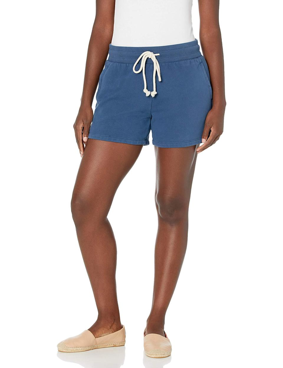 """<h2>Goodthreads</h2><br><br><strong>Goodthreads</strong> Heritage Fleece Drawstring Shorts, $, available at <a href=""""https://amzn.to/3r2zkPA"""" rel=""""nofollow noopener"""" target=""""_blank"""" data-ylk=""""slk:Amazon"""" class=""""link rapid-noclick-resp"""">Amazon</a>"""