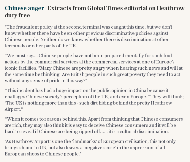 Chinese anger | Extracts from Global Times editorial on Heathrow duty free