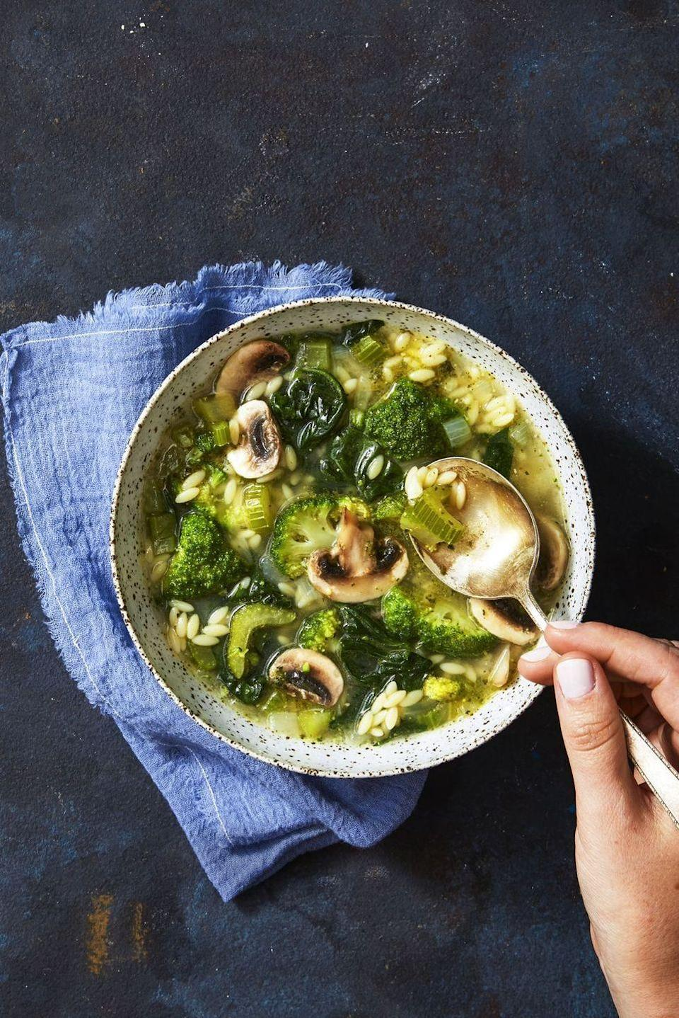"""<p>Packed with plenty of good-for-you veggies, this soup turns a traditional comfort food into a healthy meal. Plus, the recipe yields six servings, so you're basically set for the week.</p><p><em><a href=""""https://www.goodhousekeeping.com/food-recipes/a40384/supergreen-mushroom-orzo-soup-recipe/"""" rel=""""nofollow noopener"""" target=""""_blank"""" data-ylk=""""slk:Get the recipe for the Supergreen Mushroom & Orzo Soup »"""" class=""""link rapid-noclick-resp"""">Get the recipe for the Supergreen Mushroom & Orzo Soup »</a></em></p>"""