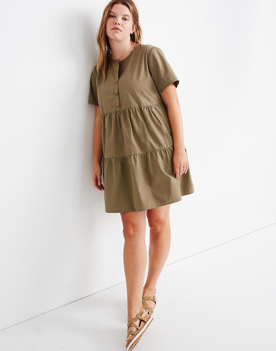 """<br> <br> <strong>Madewell</strong> Button-Front Short-Sleeve Tiered Mini Dress, $, available at <a href=""""https://go.skimresources.com/?id=30283X879131&url=https%3A%2F%2Fwww.madewell.com%2Fbutton-front-short-sleeve-tiered-mini-dress-AO277.html"""" rel=""""nofollow noopener"""" target=""""_blank"""" data-ylk=""""slk:Madewell"""" class=""""link rapid-noclick-resp"""">Madewell</a>"""