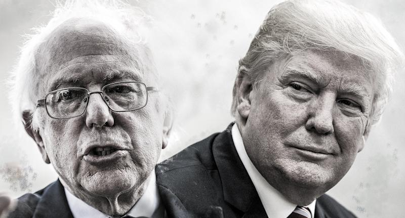 Sen. Bernie Sanders and President Trump. (Yahoo News photo Illustration; Drew Angerer/Getty Images; Chris Kleponis-Pool/Getty Images)