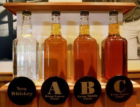 FILE PHOTO: Bottles showing the barrel aging process are seen at the Jack Daniel's distillery in Lynchburg, Tennessee May 10, 2011. REUTERS/ Martinne Geller/Files