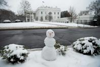 A snowman is seen on the North Lawn of the White House in Washington, DC, February 1, 2021