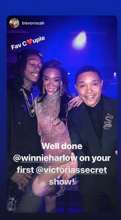Trevor Noah with Wiz Khalifa and Winnie Harlow at the Victoria's Secret Fashion Show after party in New York, New York, November 2018.