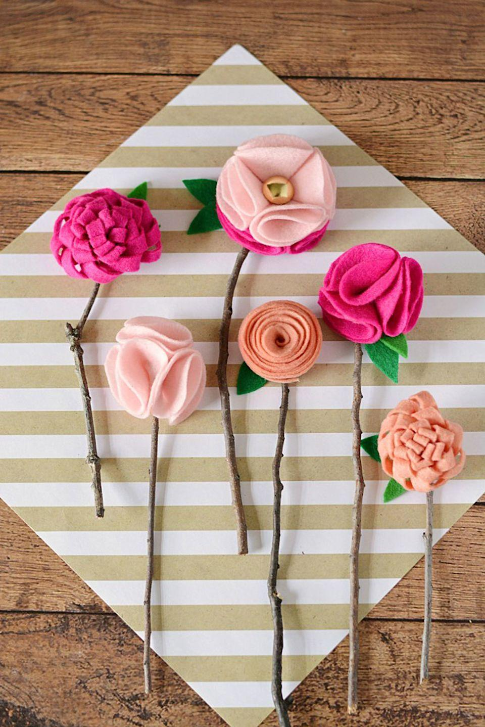 "<p>Did you forget arrange for <a href=""https://www.countryliving.com/life/g4217/best-mothers-day-flowers/"" rel=""nofollow noopener"" target=""_blank"" data-ylk=""slk:Mother's Day flowers delivery"" class=""link rapid-noclick-resp"">Mother's Day flowers delivery</a> this year? Don't worry—these felt flowers are just as pretty and will last forever.</p><p><strong>Get the tutorial at <a href=""https://www.mommymoment.ca/2016/04/diy-no-sew-felt-flowers.html"" rel=""nofollow noopener"" target=""_blank"" data-ylk=""slk:Mommy Moment"" class=""link rapid-noclick-resp"">Mommy Moment</a>.</strong></p><p><strong><a class=""link rapid-noclick-resp"" href=""https://go.redirectingat.com?id=74968X1596630&url=https%3A%2F%2Fwww.michaels.com%2Ffelt-sheets-by-creatology%2F10602150.html&sref=https%3A%2F%2Fwww.countryliving.com%2Fdiy-crafts%2Fg4233%2Fmothers-day-crafts-kids%2F"" rel=""nofollow noopener"" target=""_blank"" data-ylk=""slk:SHOP FELT SHEETS"">SHOP FELT SHEETS</a> </strong></p>"