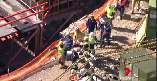 Sydney man was rushed to hospital after his leg was impaled by a piece of steel. photo: 7 News