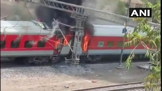 Two bogeys of Vishakhapatnam-bound Andhra Pradesh AC Express 22416 caught fire today.