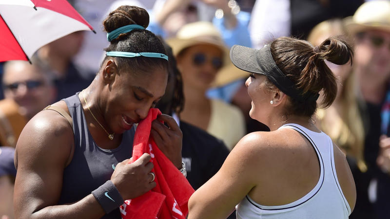 Serena Williams breaks down in tears after withdrawing from Rogers Cup final