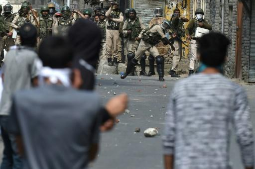 Protesters and security forces clash in Srinagar, the capital of Indian-administered Kashmir, earlier this month