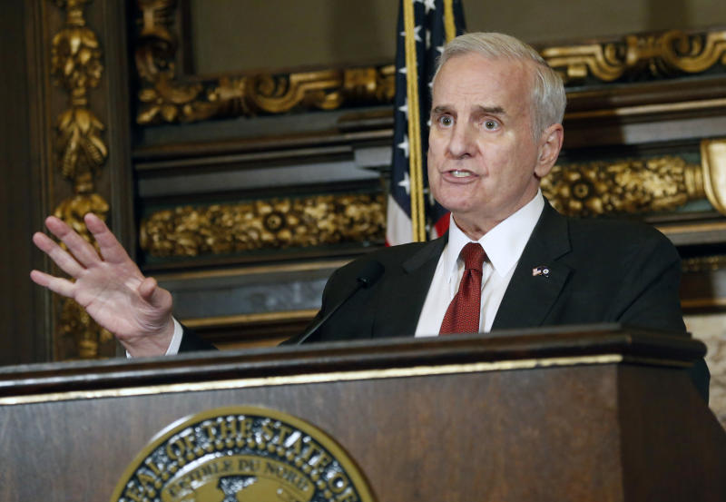 FILE - In this May 11, 2017 file photo, Minnesota Gov. Mark Dayton speaks during a news conference in St. Paul, Minn. The U.S. Supreme Court ruled Monday, Oct. 2, 2017, that it won't hear a challenge to Minnesota's sex offender civil commitment system, which allows people who have been deemed sexually dangerous to be committed to a treatment facility for an indefinite period of time. Democratic Gov. Dayton and officials with the Department of Human Services, which oversees the program, did not immediately return requests for comment. (AP Photo/Jim Mone File)