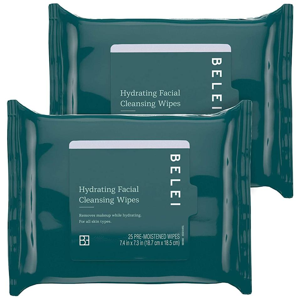 """<h3><strong>Hydrating Facial Cleansing Wipes</strong></h3><br><em>Lightning Deal: <strong>20% off </strong>10/13 5:15 PM–11:15 PM<br></em><br>""""These makeup wipes feel like velvet — super soft and feel much more luxurious than their $9 price point. Although they're hydrating, these makeup wipes are very cleansing and have made my facial cleansing routine a breeze. They can also substitute your cleanser in the morning if you're in a rush, but still want to feel refreshed and hydrated in one step."""" — Amani Richardson, social media intern<br><br>""""Unlike the Belei Vitamin C + HA Serum, these I loved. They feel and act as an exact dupe to the more expensive <a href=""""https://www.sephora.com/product/cleansing-spa-water-cloths-P294018"""" rel=""""nofollow noopener"""" target=""""_blank"""" data-ylk=""""slk:Koh Gen Do cleansing spa cloths"""" class=""""link rapid-noclick-resp"""">Koh Gen Do cleansing spa cloths</a> I currently use. I will absolutely be switching to these cheaper facial wipes from Amazon."""" — Rosenblum<br><br><strong>Belei</strong> Hydrating Facial Cleansing Wipes (2 Pack), $, available at <a href=""""https://amzn.to/36ZUiZ6"""" rel=""""nofollow noopener"""" target=""""_blank"""" data-ylk=""""slk:Amazon"""" class=""""link rapid-noclick-resp"""">Amazon</a>"""