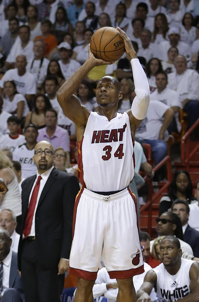 Miami Heat guard Ray Allen (34) aims for a 3-point basket during the second half of Game 3 in the NBA basketball Eastern Conference finals playoff series against the Indiana Pacers, Saturday, May 24, 2014, in Miami. The Heat defeated the Pacers 99-87. (AP Photo/Lynne Sladky)