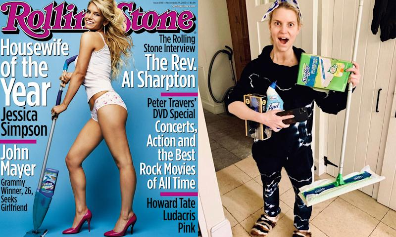 Jessica Simpson's retro Rolling Stone cover (left) and at home today (right). (Photo: Rolling Stone/Jessica Simpson via Instagram)