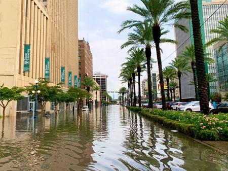 A flooded area is seen in New Orleans