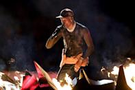 <p>Travis Scott performs during the Pepsi Super Bowl LIII Halftime Show at Mercedes-Benz Stadium on February 3, 2019 in Atlanta, Georgia. (Photo by Kevin Winter/Getty Images) </p>
