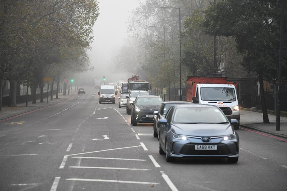 Traffic at 0755 on The Highway in east London at the start of a four week national lockdown for England. (Photo by Stefan Rousseau/PA Images via Getty Images)