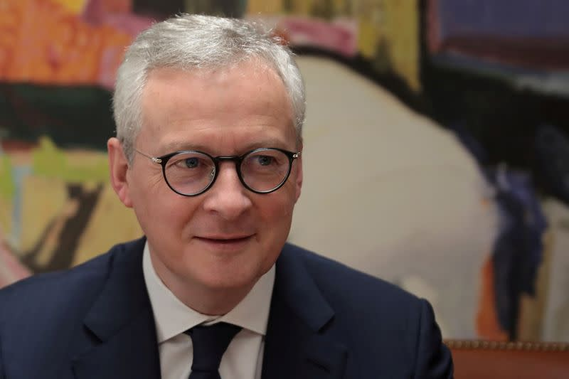 FILE PHOTO: French Finance Minister Bruno Le Maire looks on during a meeting with his Greek counterpart Christos Staikouras (not pictured) at the Finance Ministry in Athens