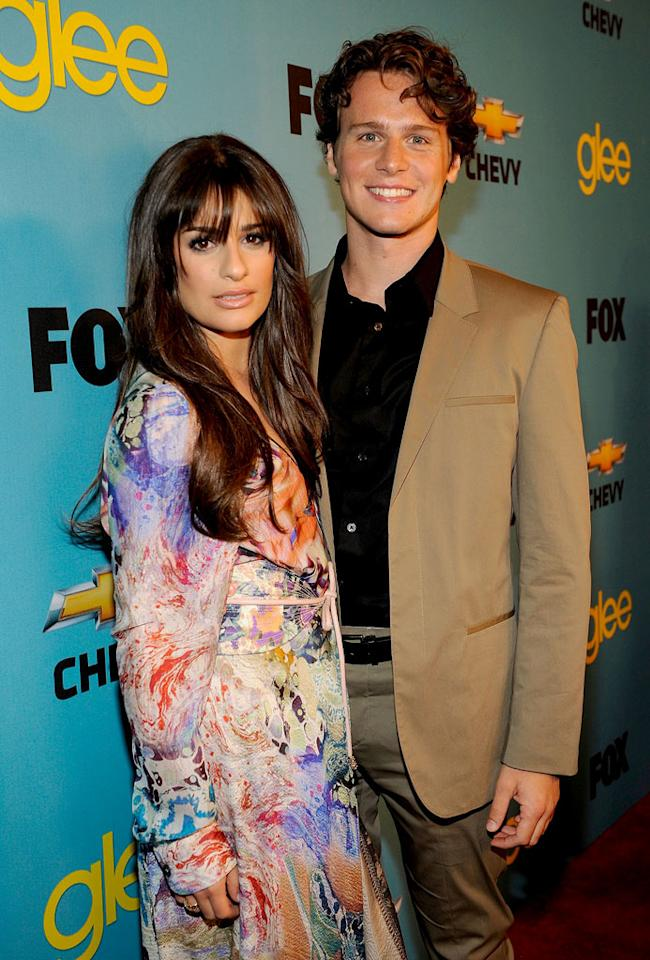 """<a href=""""/lea-michele/contributor/723097"""">Lea Michele</a> (""""Rachel Berry"""") and <a href=""""/jonathan-groff/contributor/2387118"""">Jonathan Groff</a> (""""Jesse St. James"""") arrives at Fox's <a href=""""/glee/show/44113"""">""""Glee""""</a> Spring Premiere Soiree at Chateau Marmont on April 12, 2010 in Los Angeles, California."""
