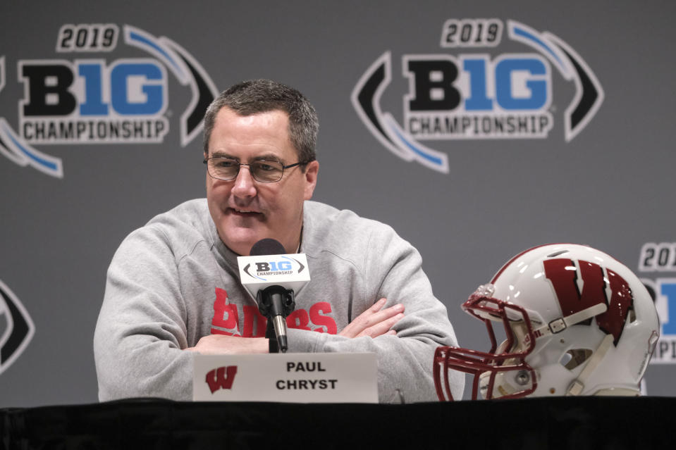 FILE - In this Dec. 6, 2019, file photo, Wisconsin head coach Paul Chryst speaks during a news conference for the Big Ten championship NCAA college football game in Indianapolis. Big Ten is going to give fall football a shot after all. Less than five weeks after pushing football and other fall sports to spring in the name of player safety during the pandemic, the conference changed course Wednesday, Sept. 16, 2020, and said it plans to begin its season the weekend of Oct. 23-24. (AP Photo/AJ Mast, File)