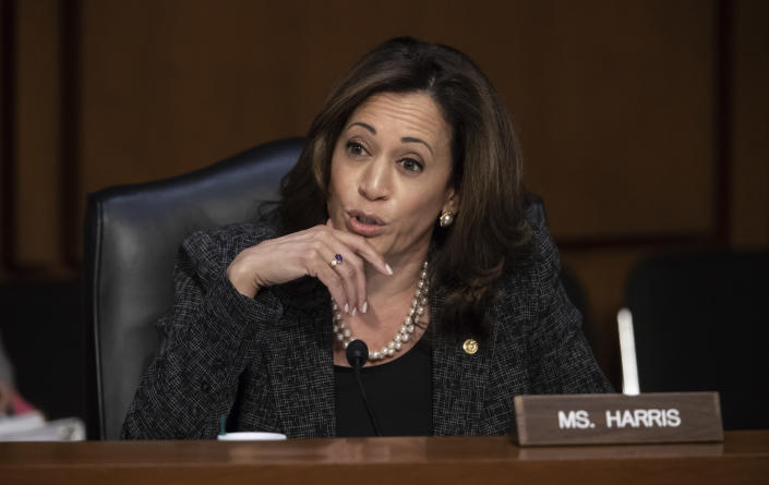 Harris questions Gina Haspel, President Trump's pick to lead the CIA, during her confirmation hearing in May 2018. (J. Scott Applewhite/AP)