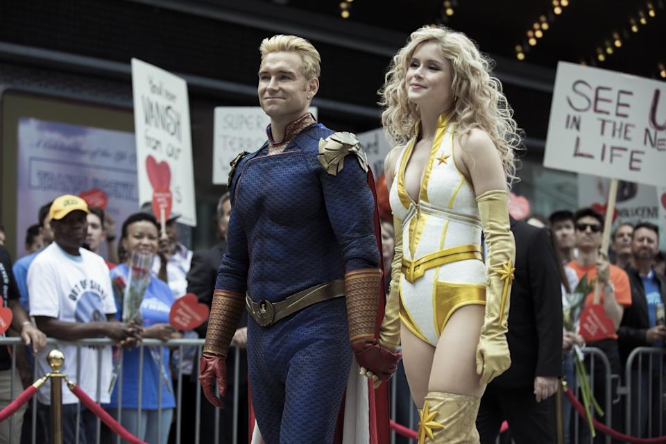 """Anthony Starr as Homelander and Erin Moriarty as Starlight in """"The Boys."""""""