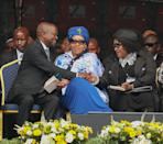 <p>Deputy President of the ANC David Dabede Mabuza, Zezani Mandela and Zindziswa Mandela attend the memorial service for Winnie Mandela At The Orlando Stadium on April 11, 2018 in Soweto, South Africa. Winnie Mandela, ex-wife of Nelson Mandela, died in a Johannesburg hospital on April 2nd at the age of 81. (Photo by J. Countess/Getty Images) </p>