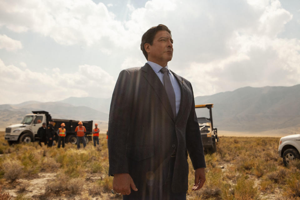 """This image released by Paramount Network shows, Gil Birmingham, from the series """"Yellowstone."""" Native American tribes and coalitions are condemning """"Big Sky,"""" a Montana-set ABC drama, for ignoring the history of violence inflicted on Indigenous women and instead making whites the crime victims. Native Americans are used to being routinely ignored by American popular culture, with their presence on TV barely a blip as just a handful of shows. Paramount Network's """"Yellowstone"""" includes them. (Emerson Miller/Paramount Network via AP)"""