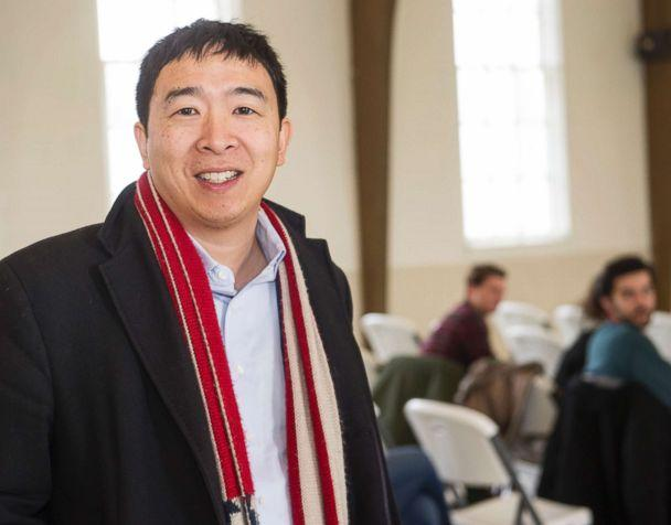 PHOTO: Andrew Yang, a candidate in the Democratic primaries for president, arrives at a town hall meeting sponsored by the Euclid chapter of the NAACP at Christ Lutheran Church in Cleveland, Feb. 24, 2019. (Phil Long/AP)
