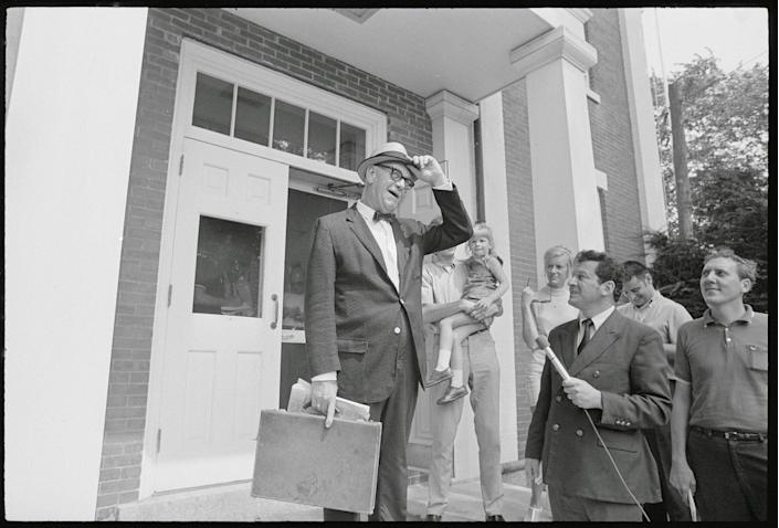 Judge James A. Boyle tips his hat as he leaves the Edgartown District Court after meeting with District Attorney., Boyle Dinis in Edgartown, Mass., on Aug. 8, 1969. Judge Boyle who will preside, set Sept. 3, as the date he will start the inquest into the cause of death of 28-year-old Mary Jo Kopechne. She was killed July 18 when the car Sen. Kennedy was driving plunged off a narrow wooded bridge. (Photo: Bettmann/Getty Images)