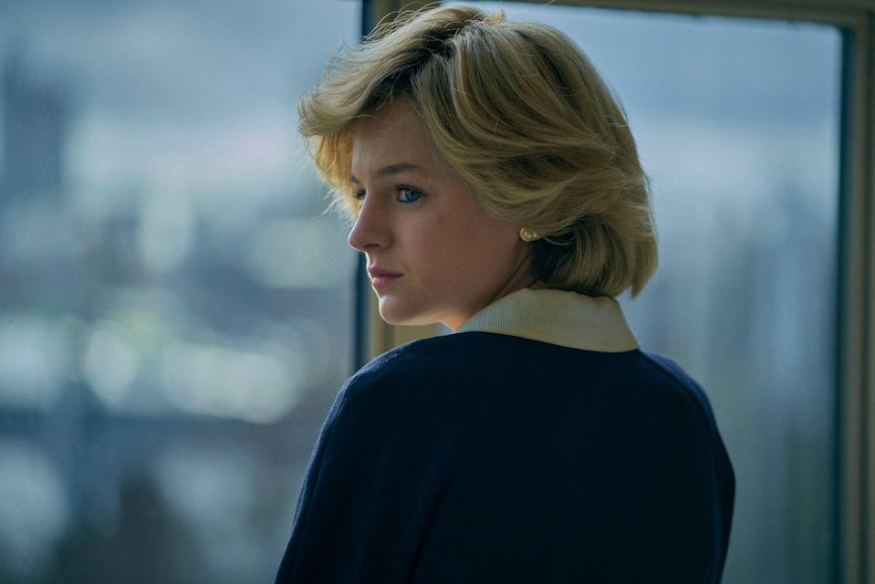 <p>Emma Corrin as Princess Diana in 'The Crown' who suffers from bulimia in the fourth series of the hit royal show</p> (Des Willie/Netflix)