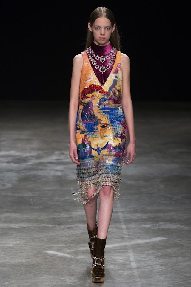 <p>Mary Katrantzou A model walks the runway at Mary Katrantzou's Fall 2017 show in London (Photo: Getty Images) </p>